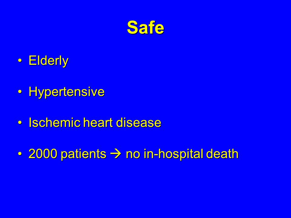 Safe Elderly Hypertensive Ischemic heart disease