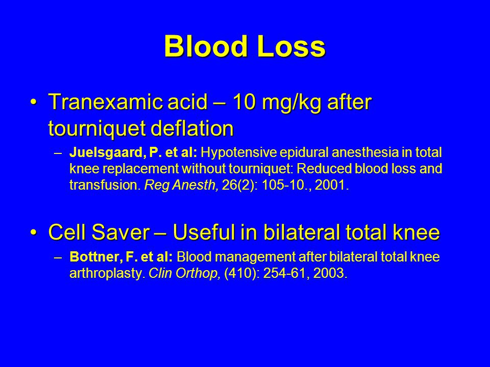 Blood Loss Tranexamic acid – 10 mg/kg after tourniquet deflation