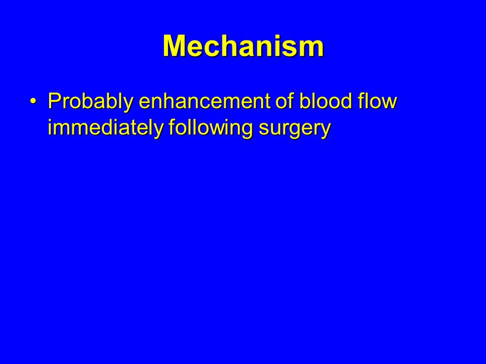 Mechanism Probably enhancement of blood flow immediately following surgery