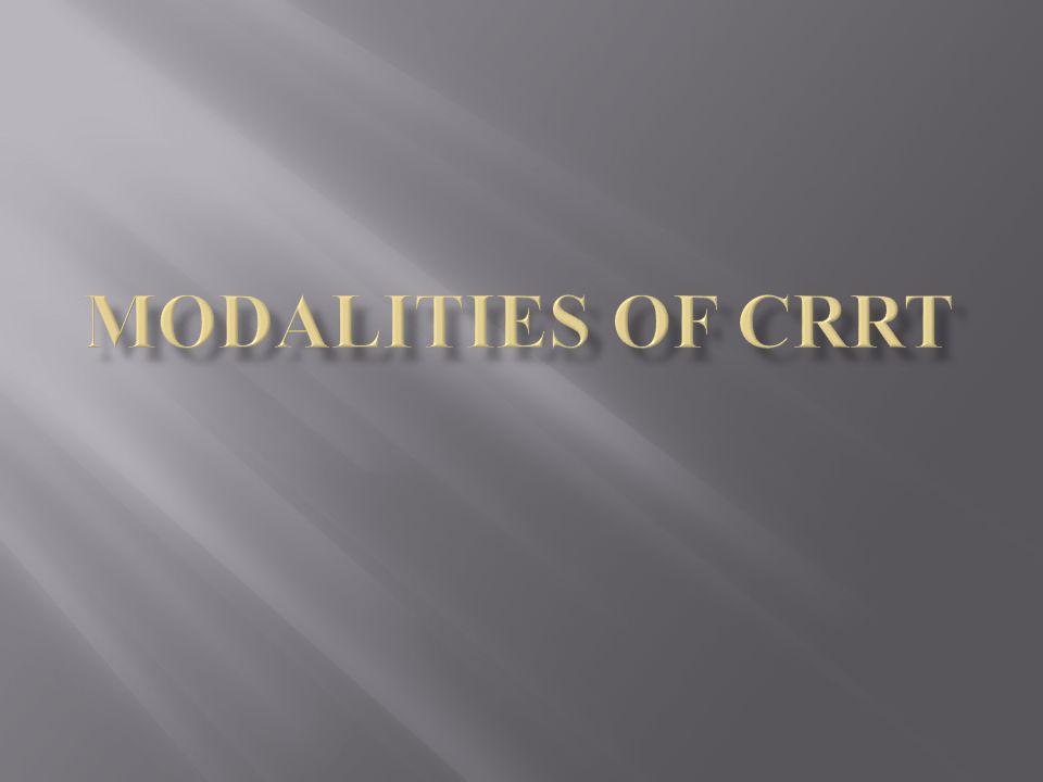 Modalities of CRRT