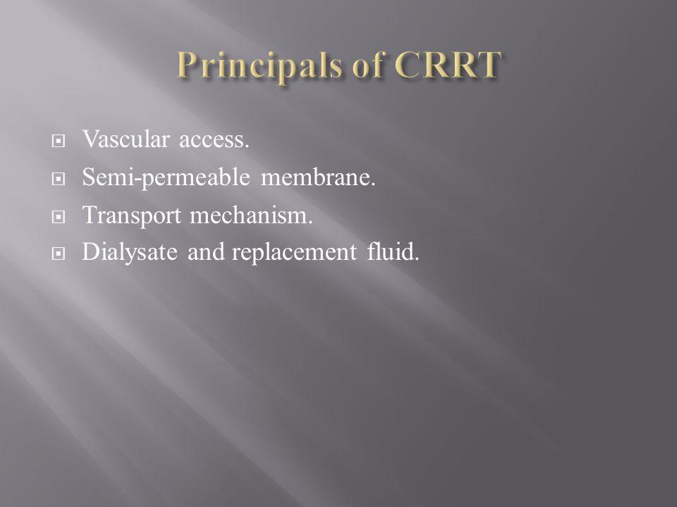 Principals of CRRT Vascular access. Semi-permeable membrane.