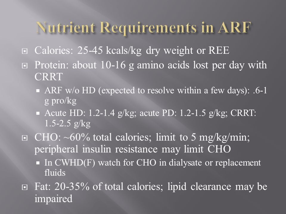 Nutrient Requirements in ARF