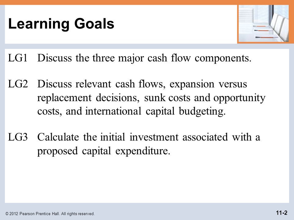 Learning Goals LG1 Discuss the three major cash flow components.