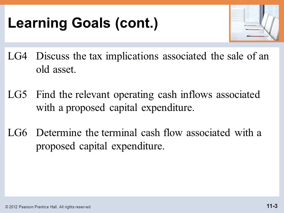 Learning Goals (cont.) LG4 Discuss the tax implications associated the sale of an old asset.