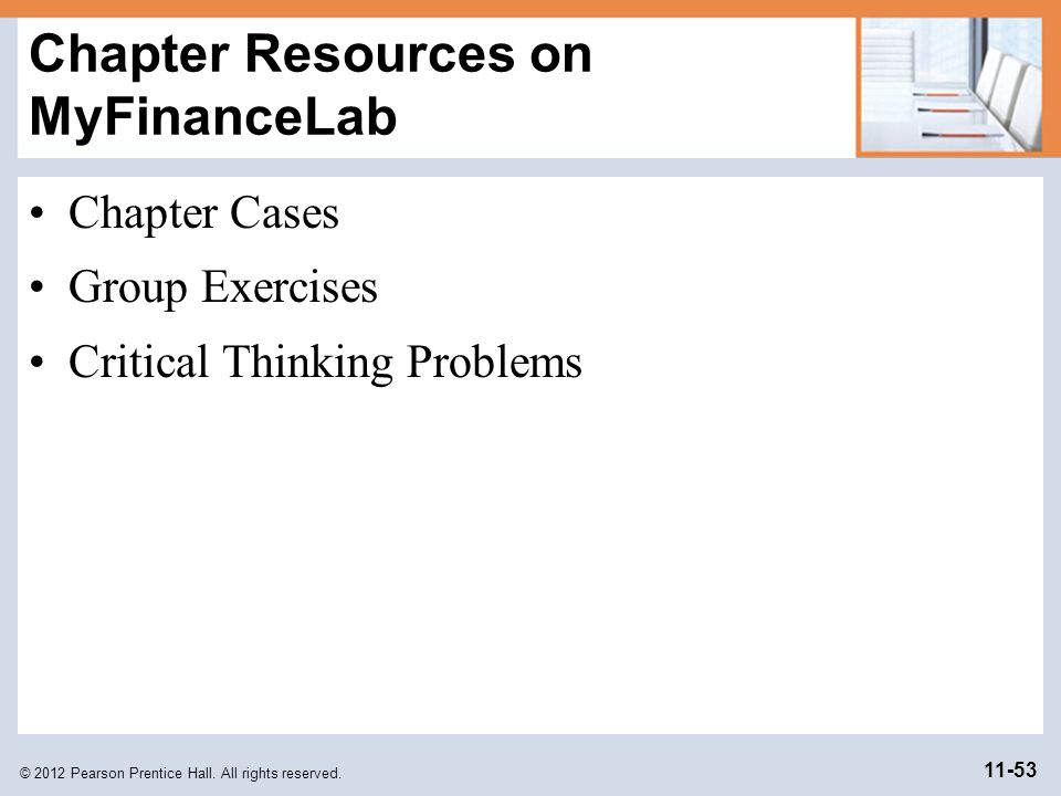Chapter Resources on MyFinanceLab