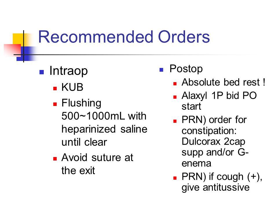 Recommended Orders Intraop Postop KUB