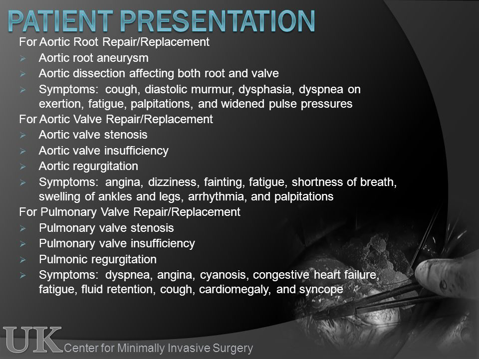 Patient Presentation For Aortic Root Repair/Replacement