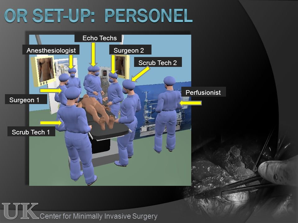 OR set-up: Personel Echo Techs Anesthesiologist Surgeon 2 Scrub Tech 2