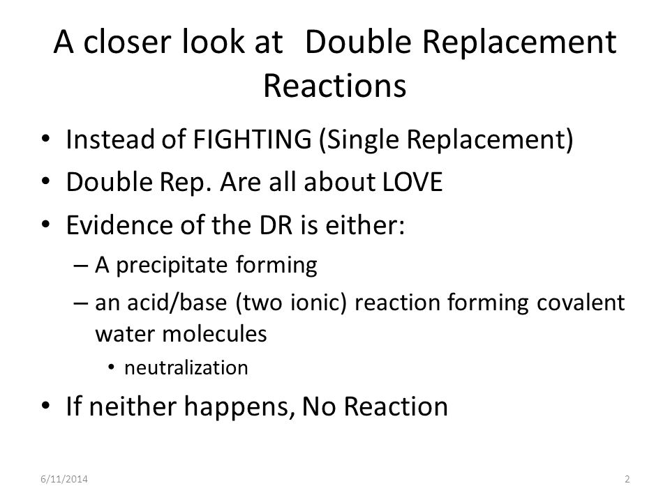 A closer look at Double Replacement Reactions