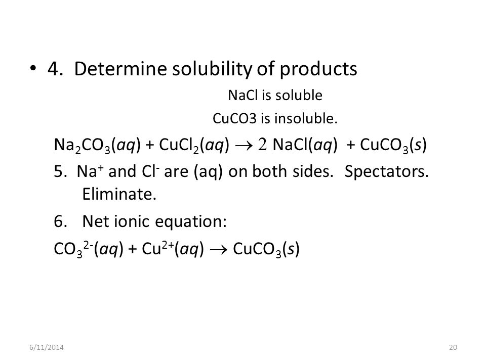 4. Determine solubility of products
