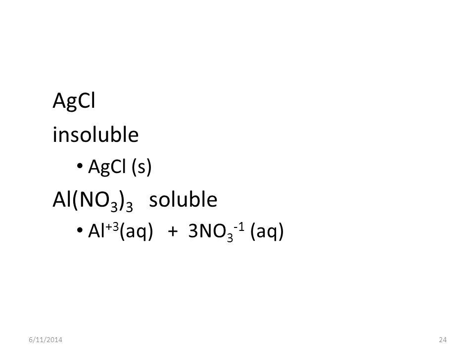 AgCl insoluble Al(NO3)3 soluble AgCl (s) Al+3(aq) + 3NO3-1 (aq)