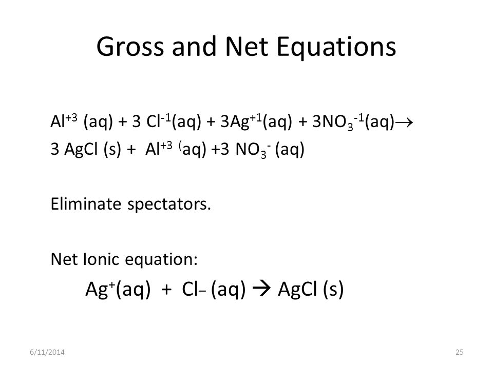 Gross and Net Equations