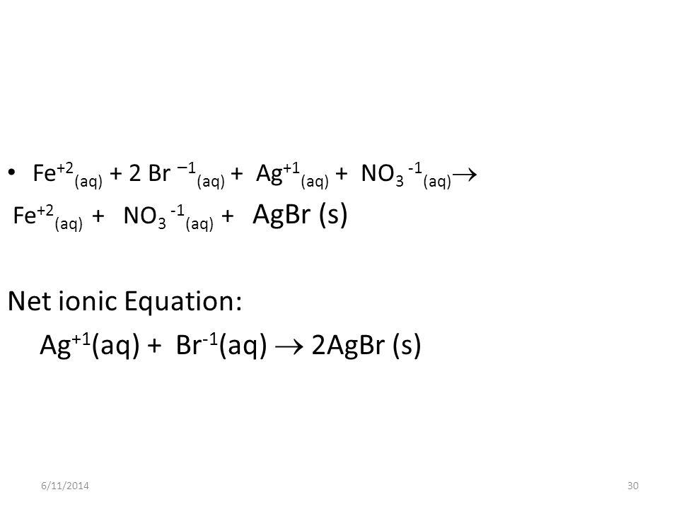 Ag+1(aq) + Br-1(aq)  2AgBr (s)