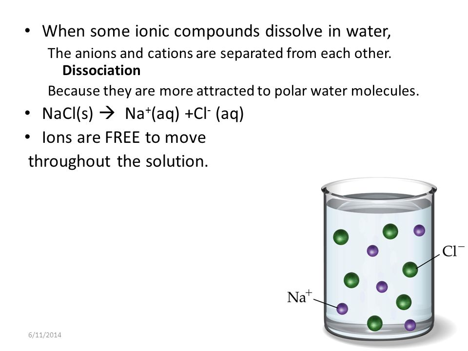 When some ionic compounds dissolve in water,