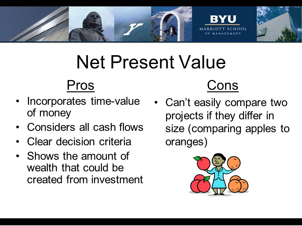 Net Present Value Cons Pros Incorporates time-value of money