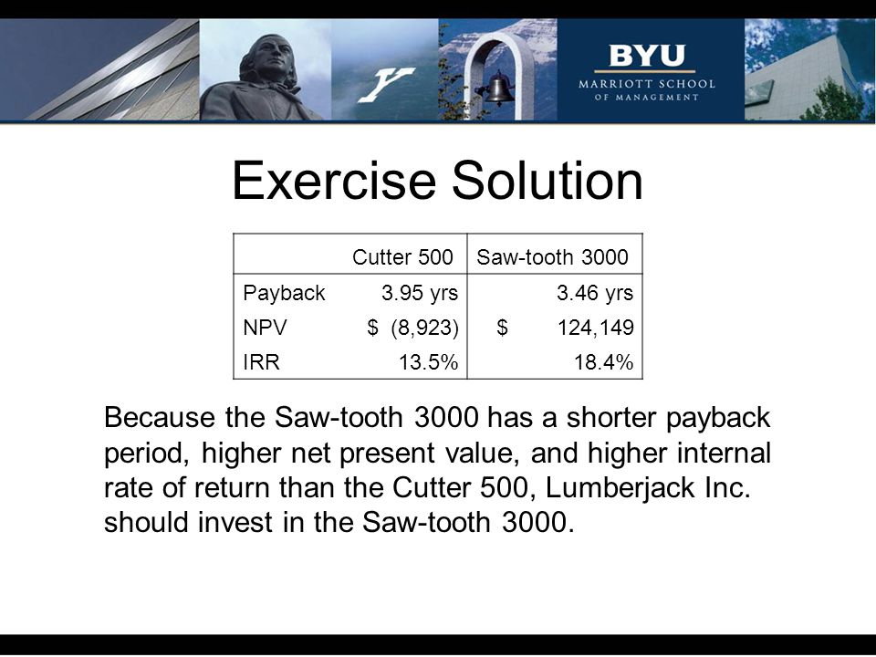 Exercise Solution Cutter 500. Saw-tooth 3000. Payback. 3.95 yrs. 3.46 yrs. NPV. $ (8,923) $ 124,149.