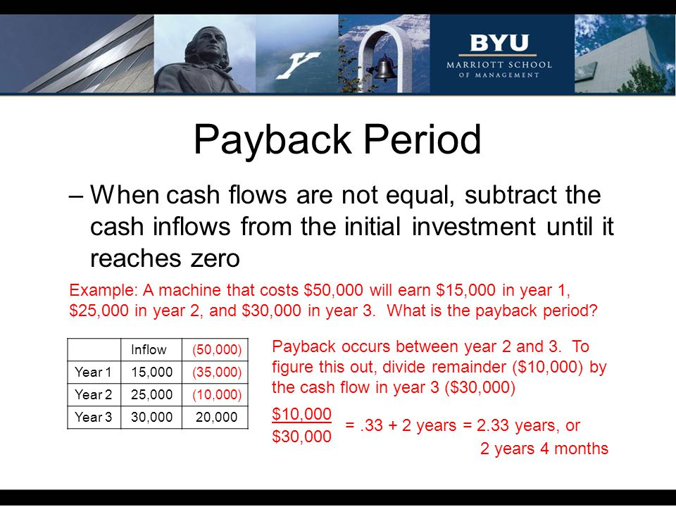 Payback Period When cash flows are not equal, subtract the cash inflows from the initial investment until it reaches zero.