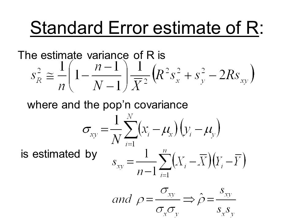 Standard Error estimate of R: