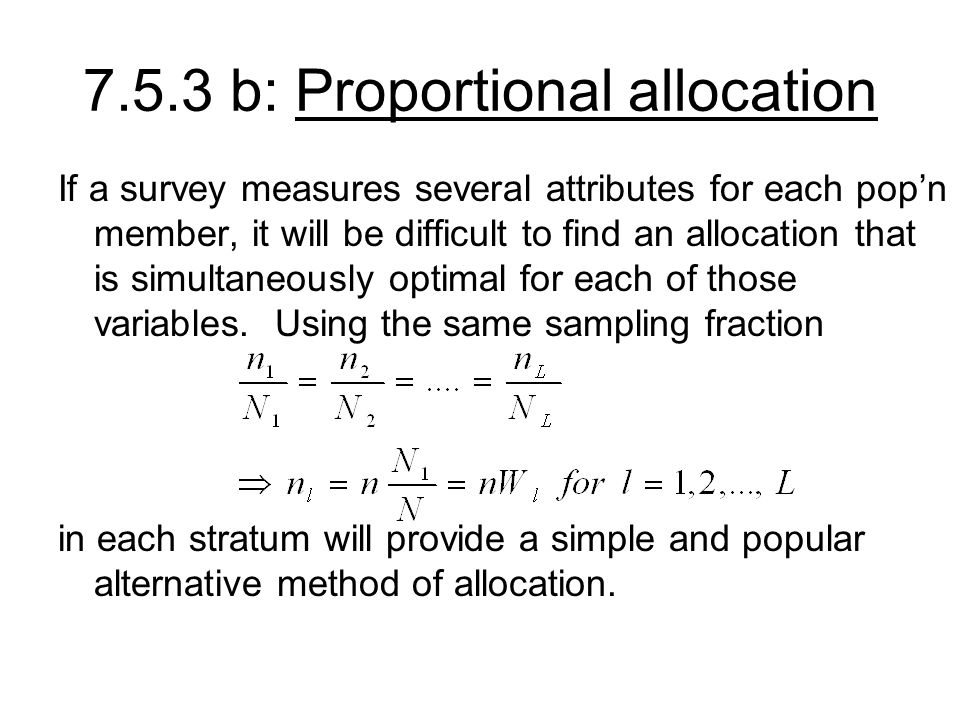 7.5.3 b: Proportional allocation