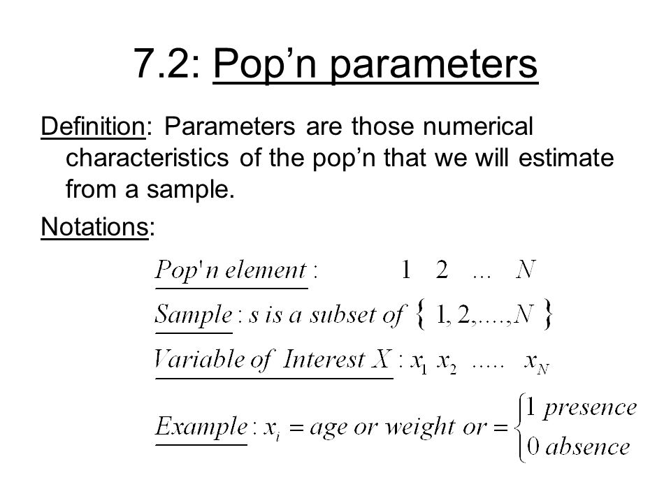7.2: Pop'n parameters Definition: Parameters are those numerical characteristics of the pop'n that we will estimate from a sample.