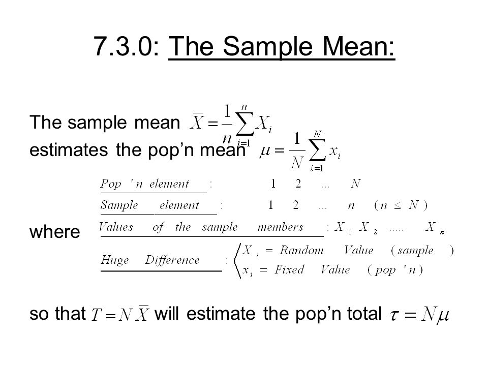 7.3.0: The Sample Mean: The sample mean estimates the pop'n mean where