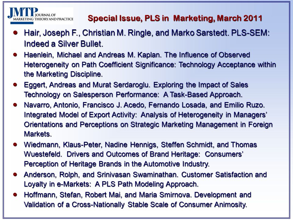 Special Issue, PLS in Marketing, March 2011