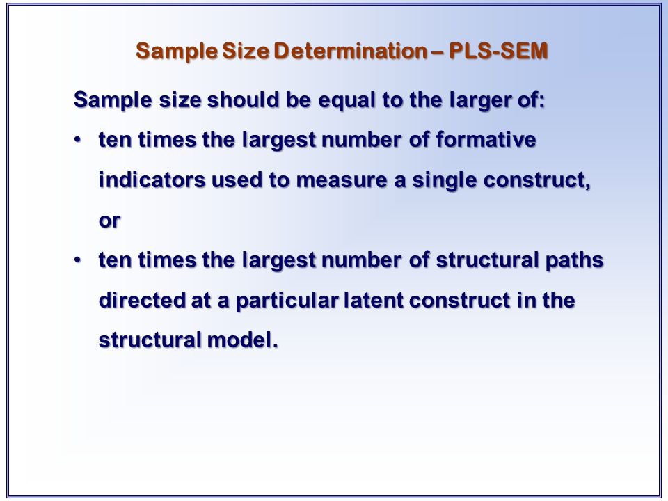 Sample Size Determination – PLS-SEM