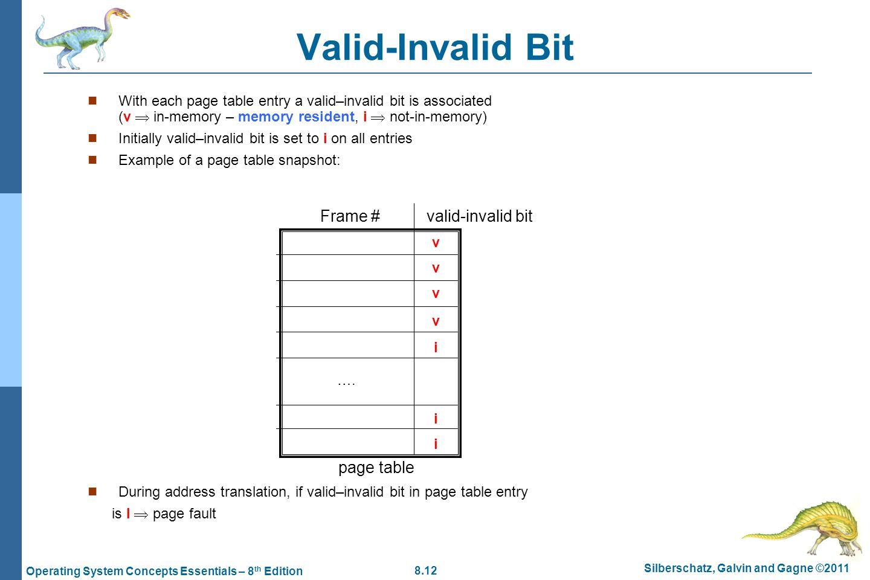 Valid-Invalid Bit Frame # valid-invalid bit page table
