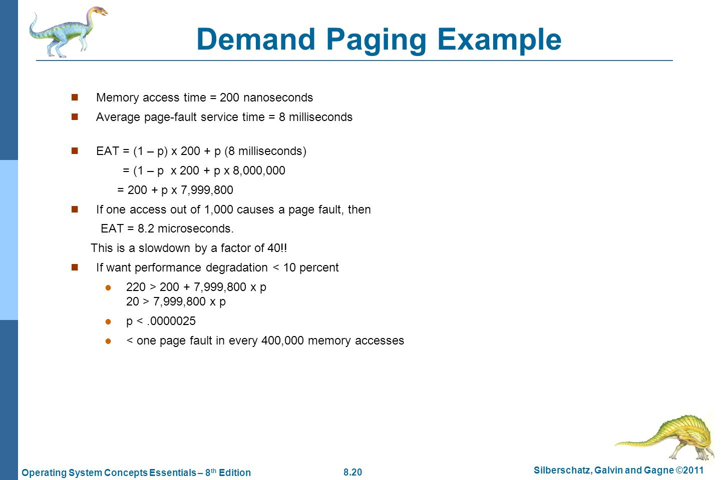 Demand Paging Example Memory access time = 200 nanoseconds