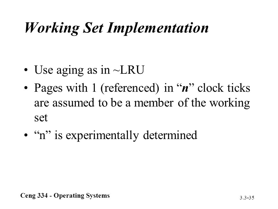 Working Set Implementation