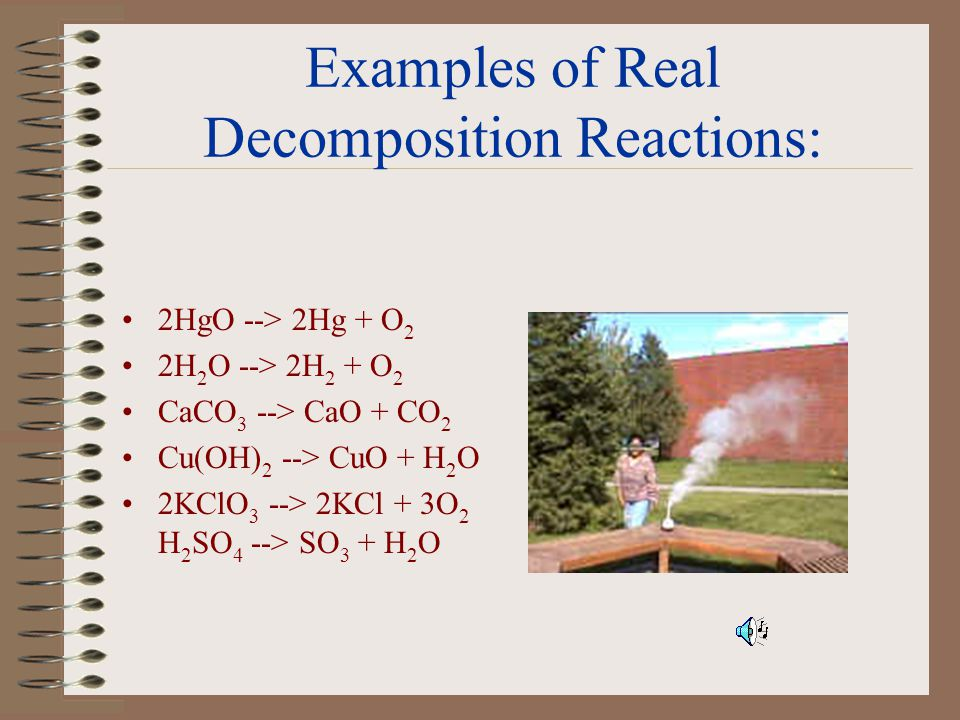Examples of Real Decomposition Reactions: