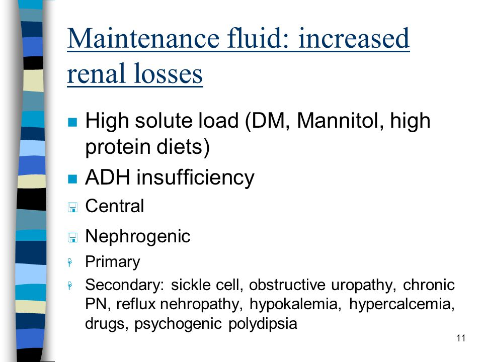 Maintenance fluid: increased renal losses