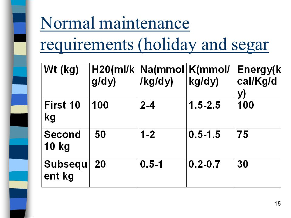 Normal maintenance requirements (holiday and segar