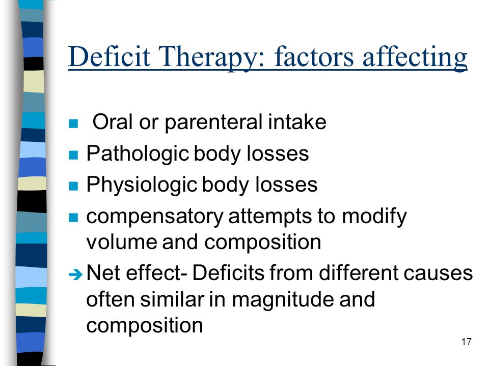 Deficit Therapy: factors affecting