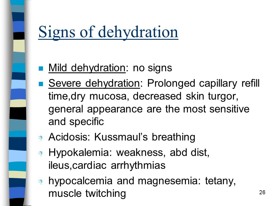 Signs of dehydration Mild dehydration: no signs