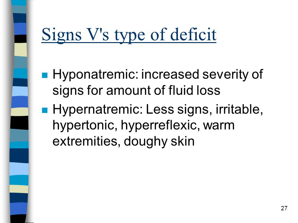 Signs V s type of deficit