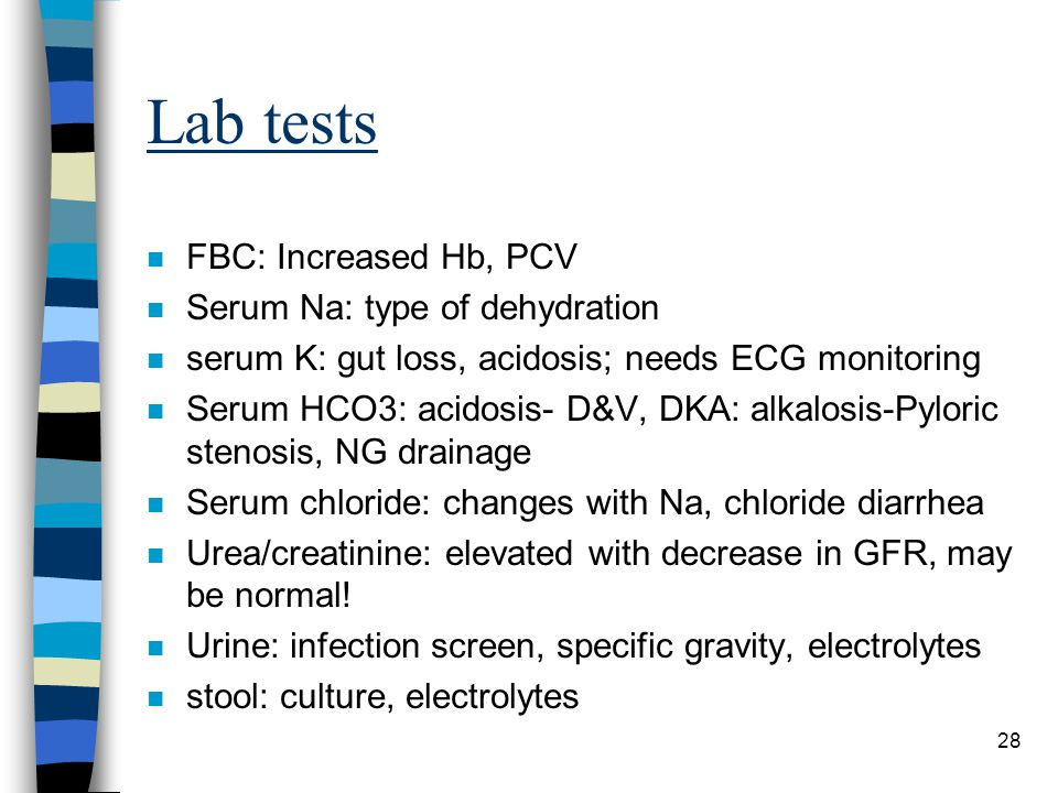 Lab tests FBC: Increased Hb, PCV Serum Na: type of dehydration