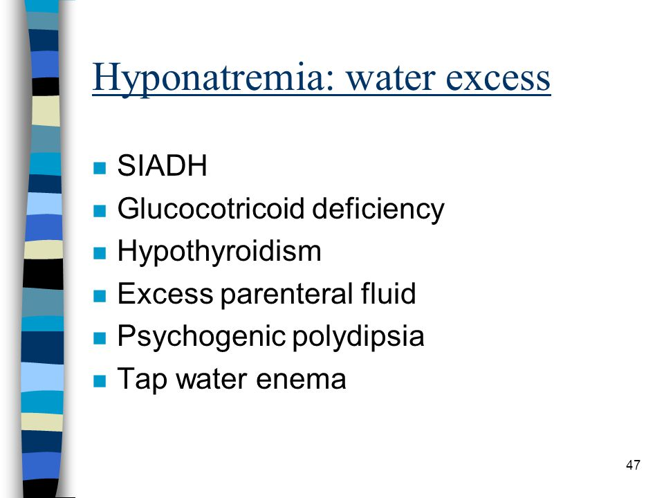 Hyponatremia: water excess