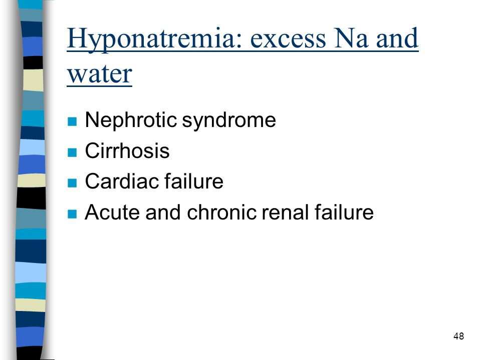 Hyponatremia: excess Na and water