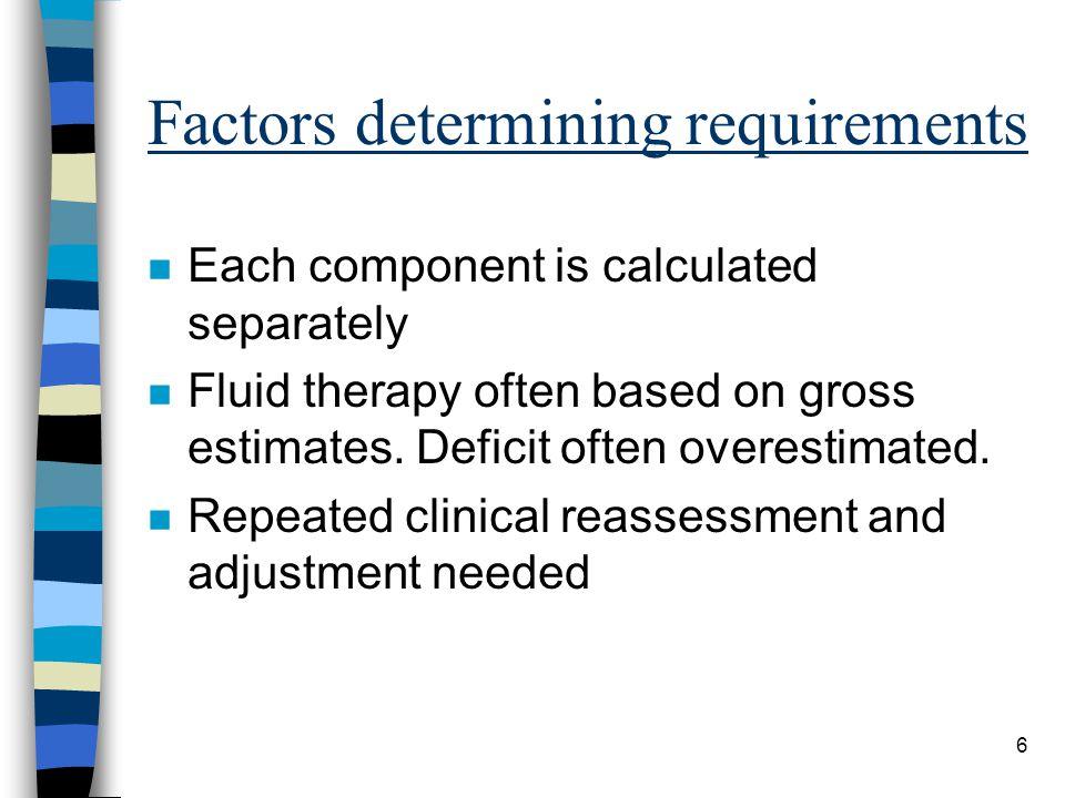 Factors determining requirements