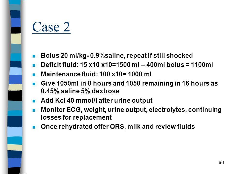Case 2 Bolus 20 ml/kg- 0.9%saline, repeat if still shocked