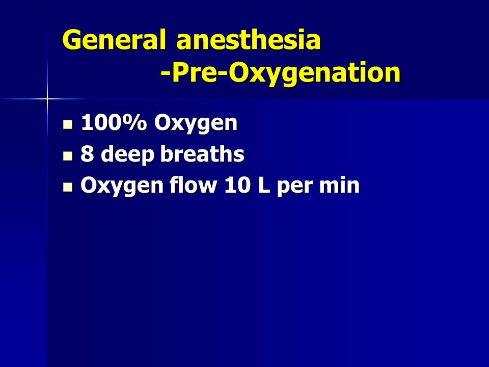 General anesthesia -Pre-Oxygenation