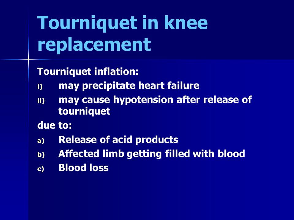 Tourniquet in knee replacement
