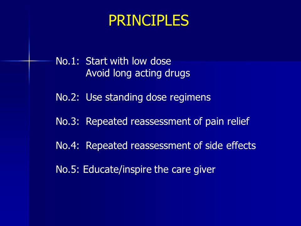 PRINCIPLES No.1: Start with low dose Avoid long acting drugs