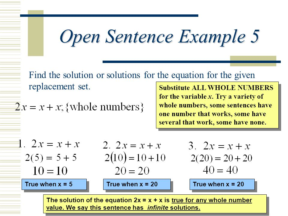 Open Sentence Example 5 Find the solution or solutions for the equation for the given replacement set.