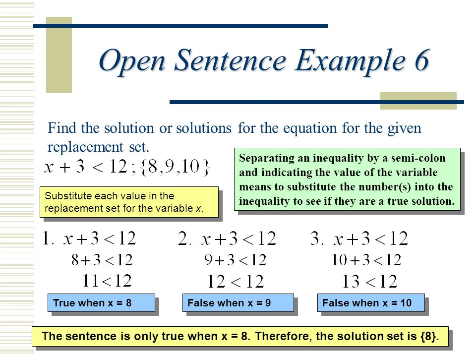 Open Sentence Example 6 Find the solution or solutions for the equation for the given replacement set.