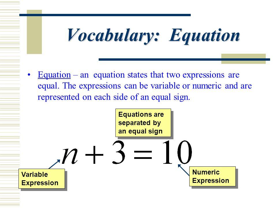 Vocabulary: Equation