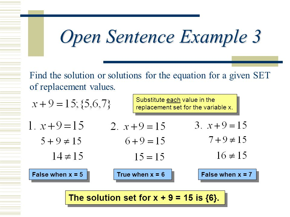 Open Sentence Example 3 Find the solution or solutions for the equation for a given SET of replacement values.