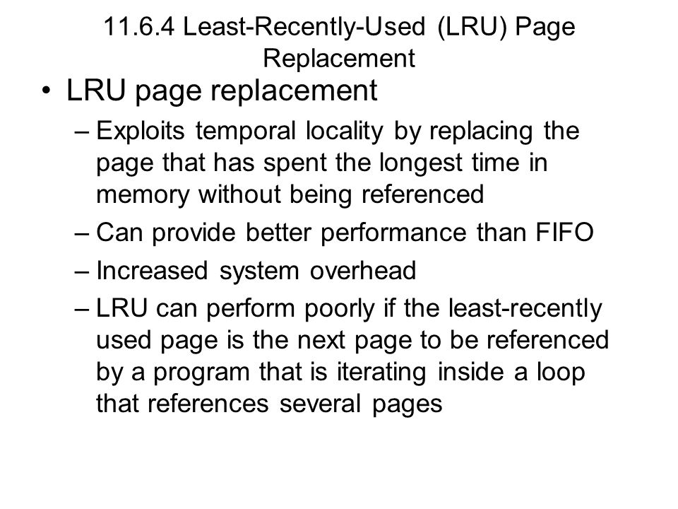 11.6.4 Least-Recently-Used (LRU) Page Replacement