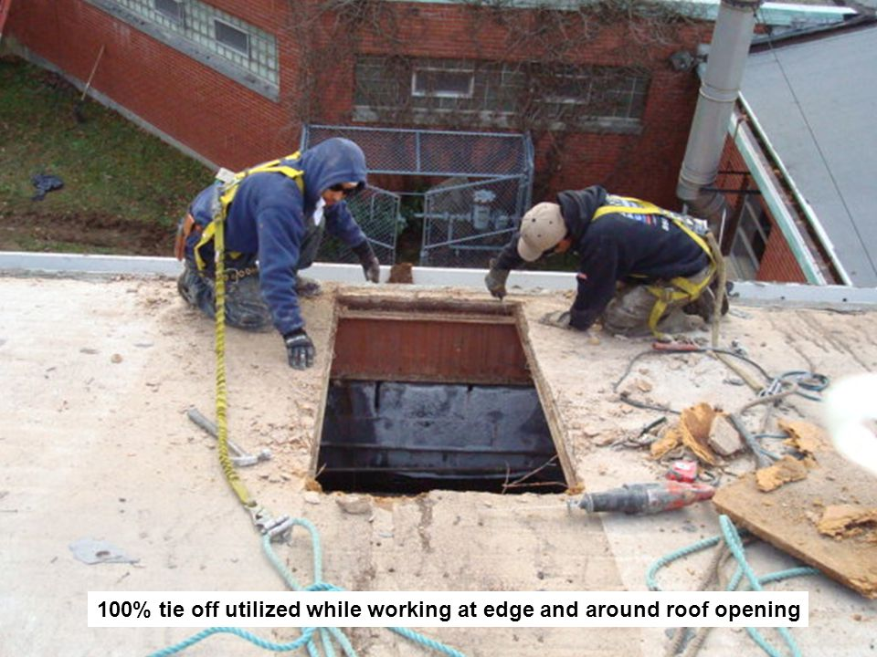 100% tie off utilized while working at edge and around roof opening